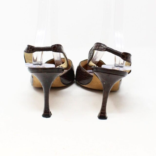MANOLO BLAHNIK 30536 Brown Leather Slingback Croc Heels US 11 EU 42 3