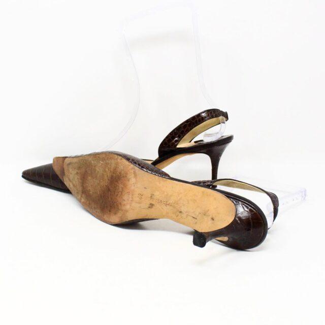 MANOLO BLAHNIK 30536 Brown Leather Slingback Croc Heels US 11 EU 42 4