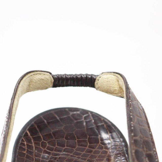 MANOLO BLAHNIK 30536 Brown Leather Slingback Croc Heels US 11 EU 42 6
