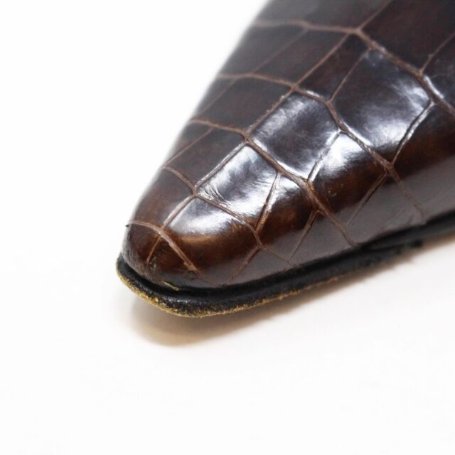 MANOLO BLAHNIK 30536 Brown Leather Slingback Croc Heels US 11 EU 42 7