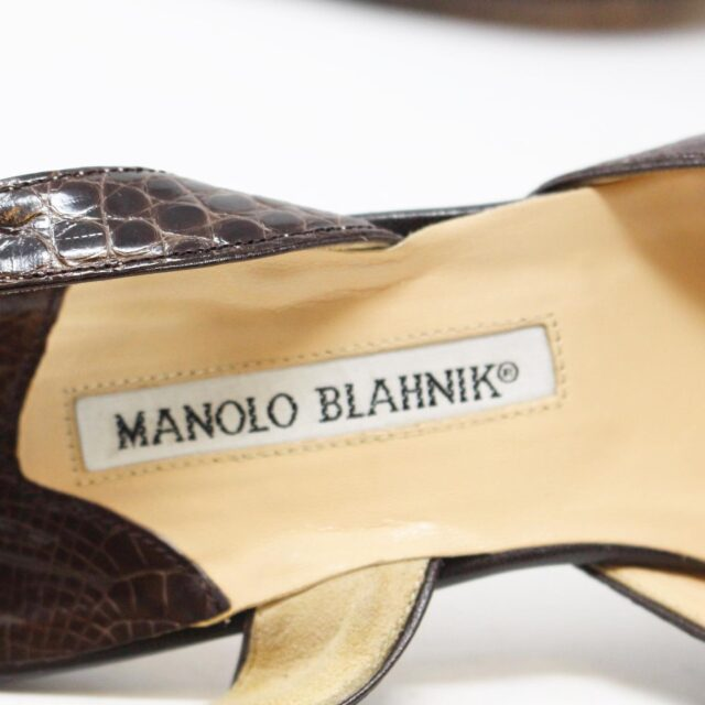 MANOLO BLAHNIK 30536 Brown Leather Slingback Croc Heels US 11 EU 42 8