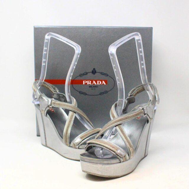 PRADA 30662 Silver Metallic Wedges US 8 EU 38 1