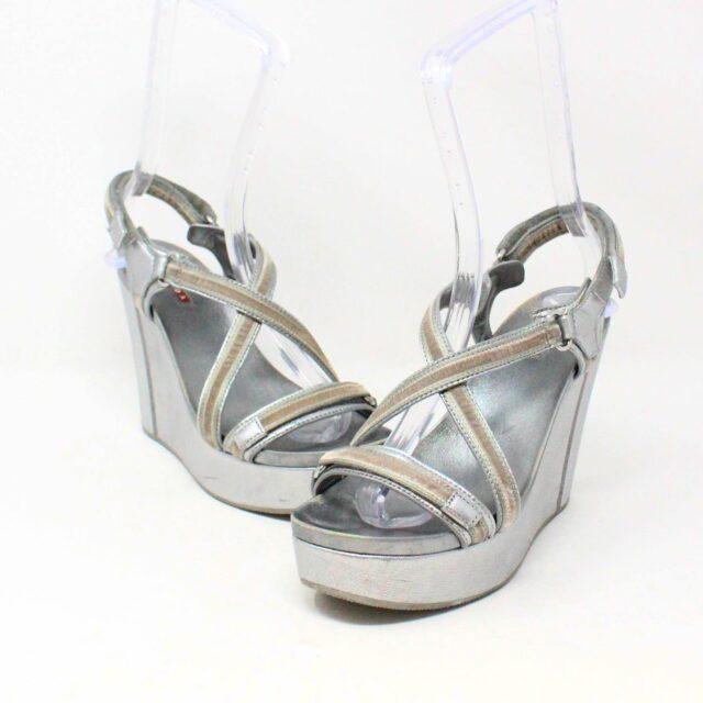 PRADA 30662 Silver Metallic Wedges US 8 EU 38 2