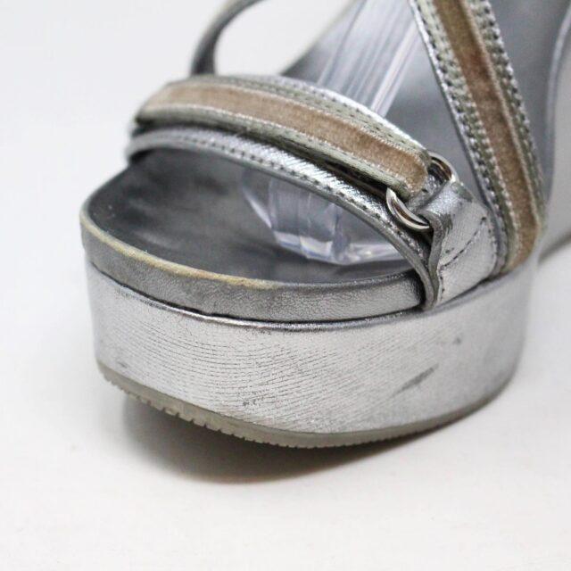 PRADA 30662 Silver Metallic Wedges US 8 EU 38 5