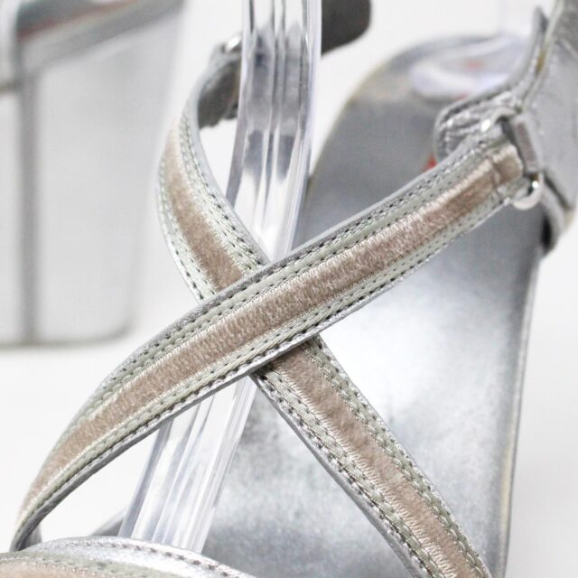 PRADA 30662 Silver Metallic Wedges US 8 EU 38 6