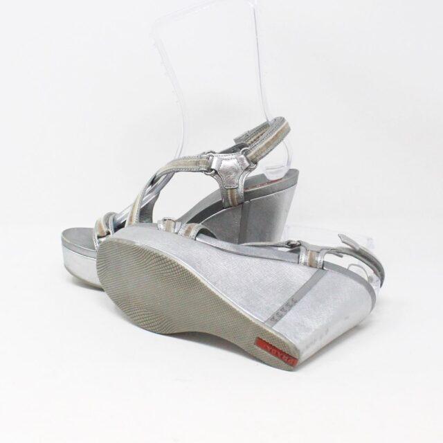 PRADA 30662 Silver Metallic Wedges US 8 EU 38 8