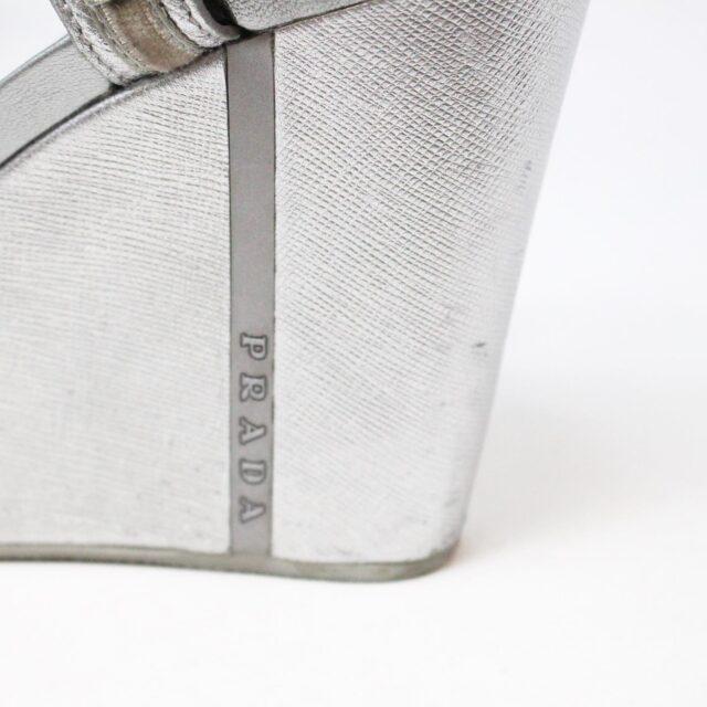 PRADA 30662 Silver Metallic Wedges US 8 EU 38 9