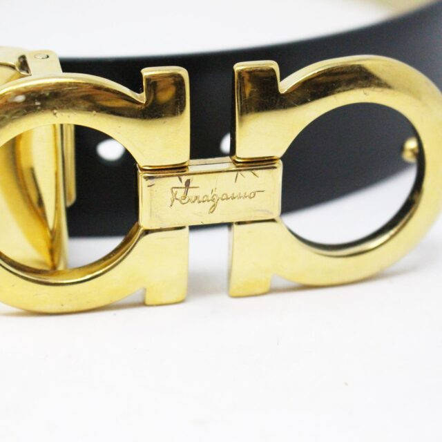 SALVATORE FERRAGAMO 30752 Black Gold Leather Reversible Gancini Belt 2
