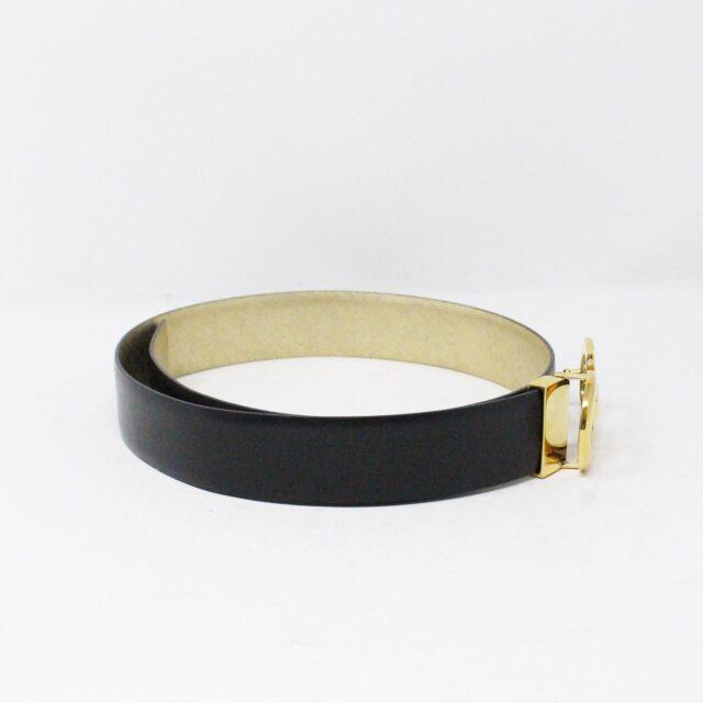 SALVATORE FERRAGAMO 30752 Black Gold Leather Reversible Gancini Belt 3