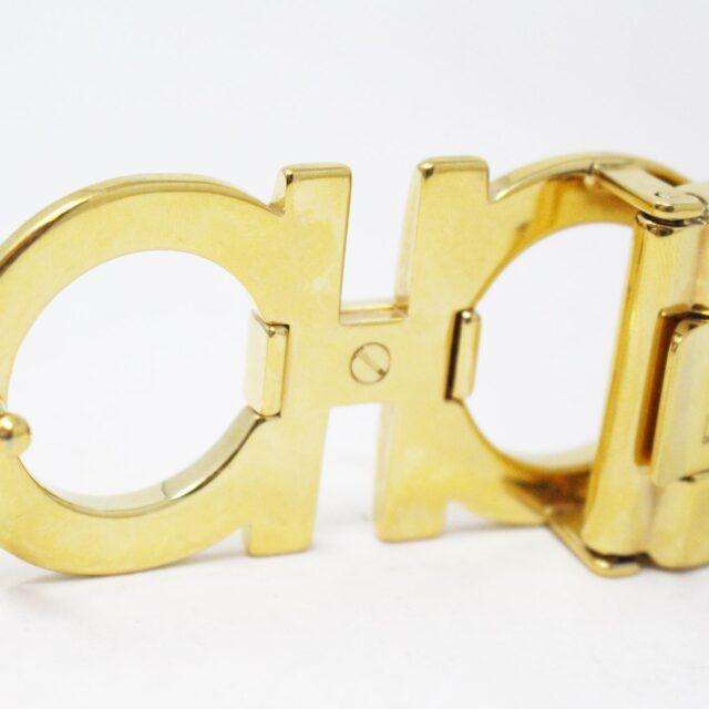 SALVATORE FERRAGAMO 30752 Black Gold Leather Reversible Gancini Belt 5