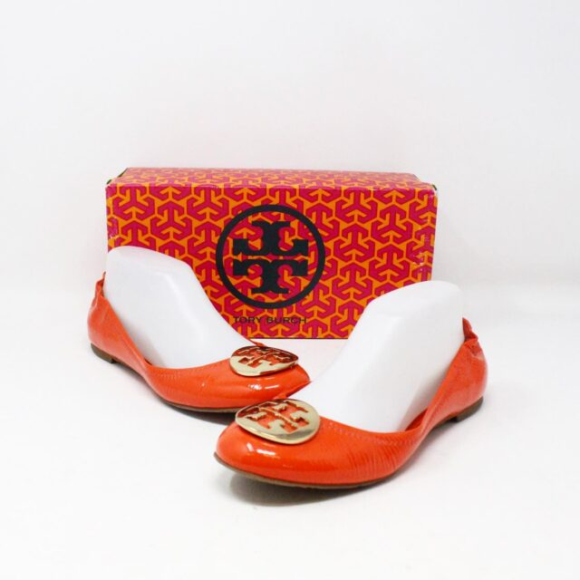 TORY BURCH 30658 Orange Patent Leather Reva Flats US 8 EU 38 1