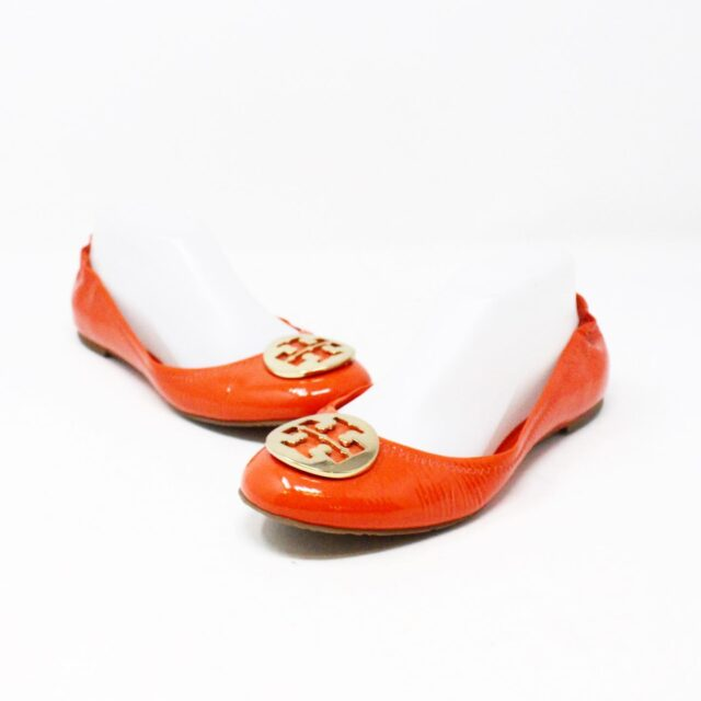 TORY BURCH 30658 Orange Patent Leather Reva Flats US 8 EU 38 2