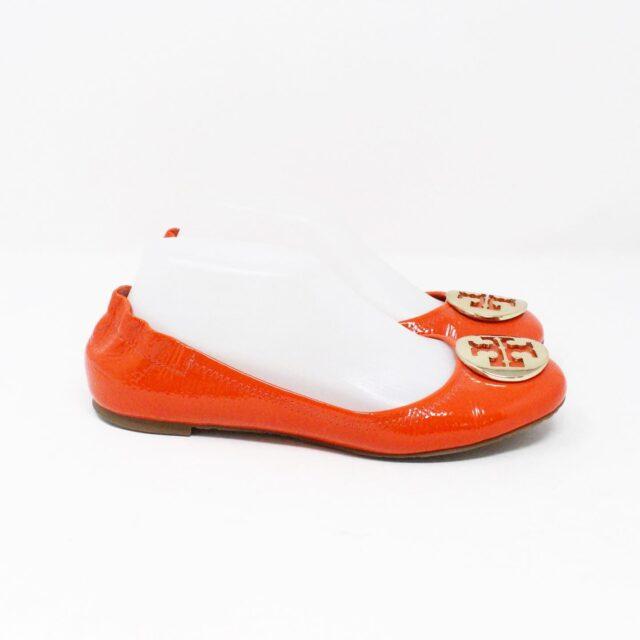 TORY BURCH 30658 Orange Patent Leather Reva Flats US 8 EU 38 3