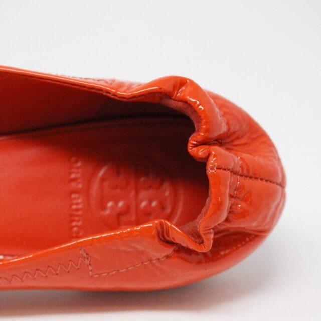 TORY BURCH 30658 Orange Patent Leather Reva Flats US 8 EU 38 5