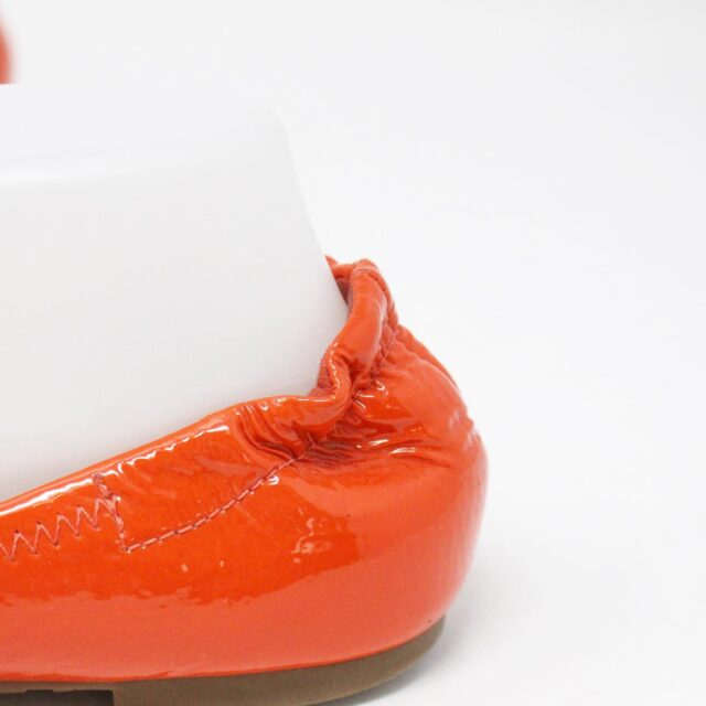 TORY BURCH 30658 Orange Patent Leather Reva Flats US 8 EU 38 6