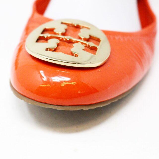TORY BURCH 30658 Orange Patent Leather Reva Flats US 8 EU 38 7