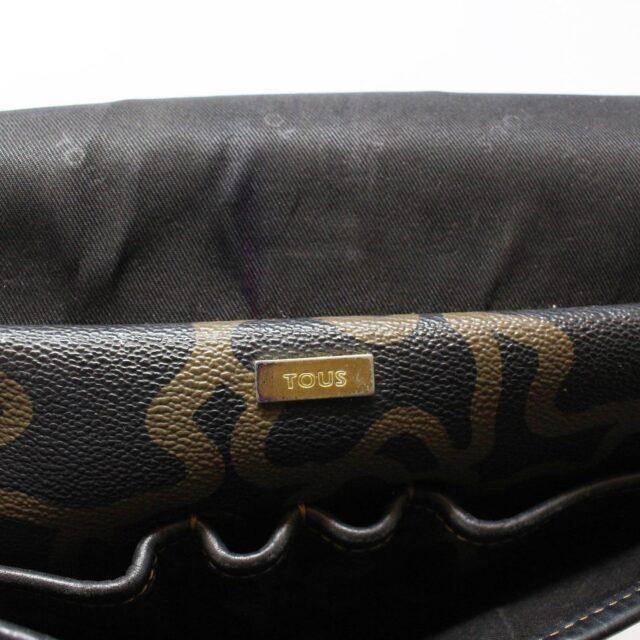TOUS 30077 Black Gold Canvas Messenger Bag 10