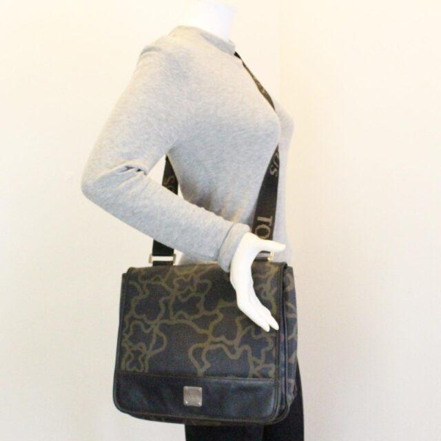 TOUS 30077 Black Gold Canvas Messenger Bag 9