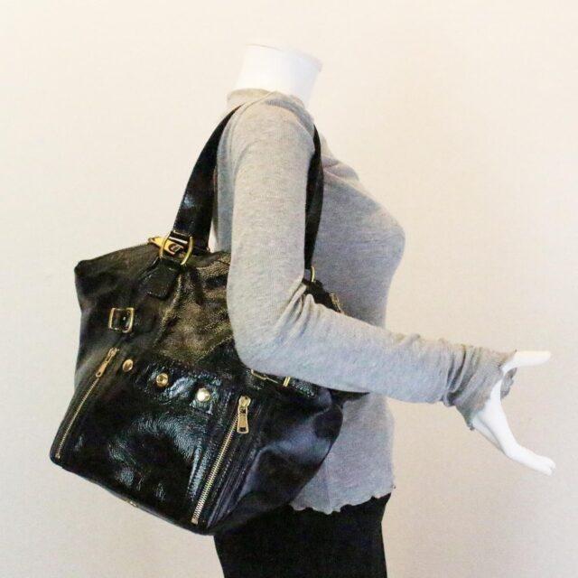YVES SAINT LAURENT 30672 Black Patent Leather Satchel 10