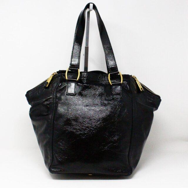 YVES SAINT LAURENT 30672 Black Patent Leather Satchel 2