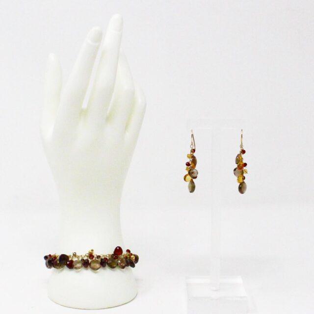 31039 Smoky Quartz Garnet Multi Shaped Bead Bracelet Earrings 1
