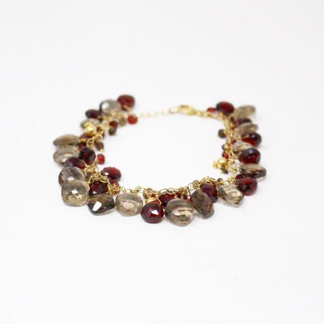 31039 Smoky Quartz Garnet Multi Shaped Bead Bracelet Earrings 3