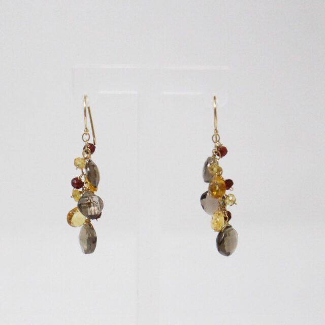 31039 Smoky Quartz Garnet Multi Shaped Bead Bracelet Earrings 6