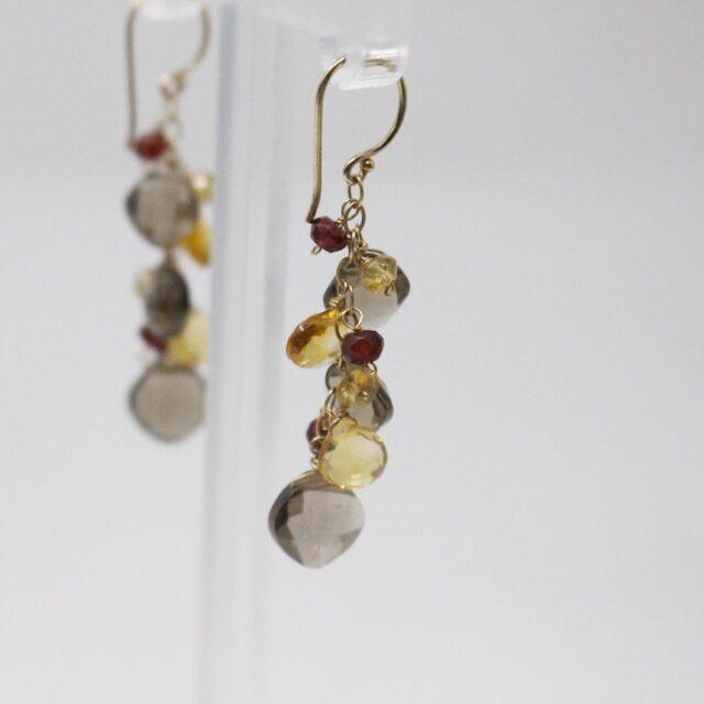 31039 Smoky Quartz Garnet Multi Shaped Bead Bracelet Earrings 8