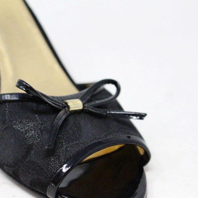 COACH 30849 Black Canvas Bow Kitten Heel US 9.5 EU 39.5 6