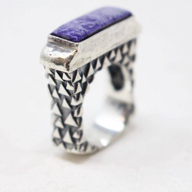 DIAN MALOUF 30866 Sterling Silver Purple Agate Ring Size 7.5 7