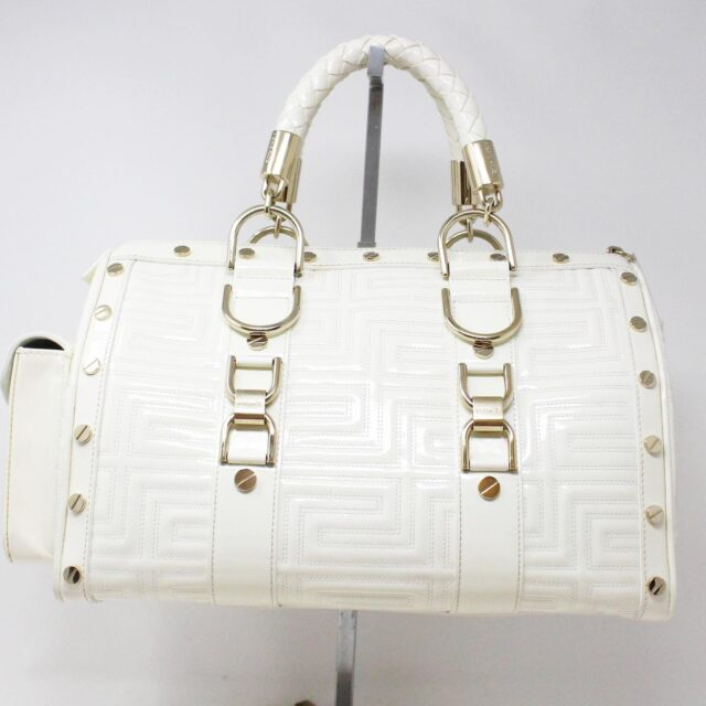 GIANNI VERSACE 30949 White Patent Leather Snap Out of It Boston Bag 2