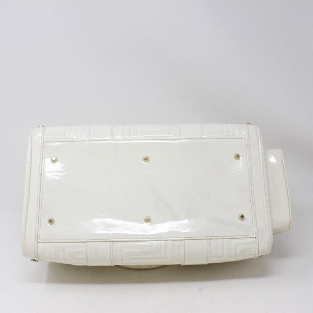 GIANNI VERSACE 30949 White Patent Leather Snap Out of It Boston Bag 3