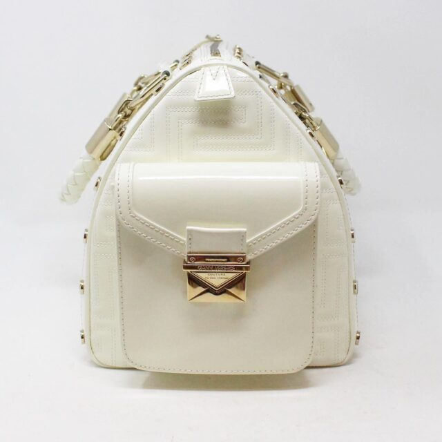 GIANNI VERSACE 30949 White Patent Leather Snap Out of It Boston Bag 4