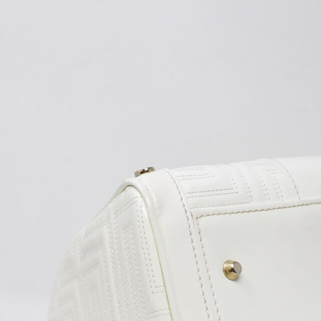 GIANNI VERSACE 30949 White Patent Leather Snap Out of It Boston Bag 5