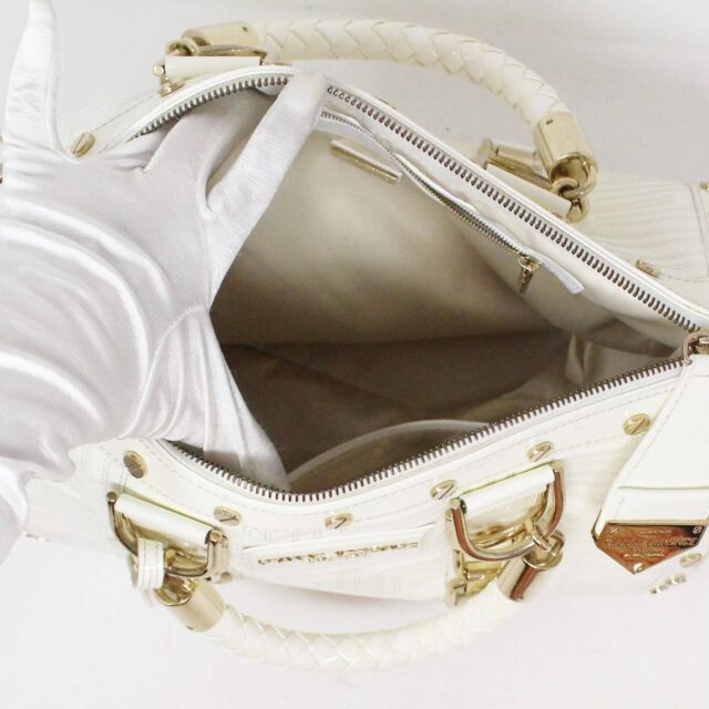GIANNI VERSACE 30949 White Patent Leather Snap Out of It Boston Bag 6