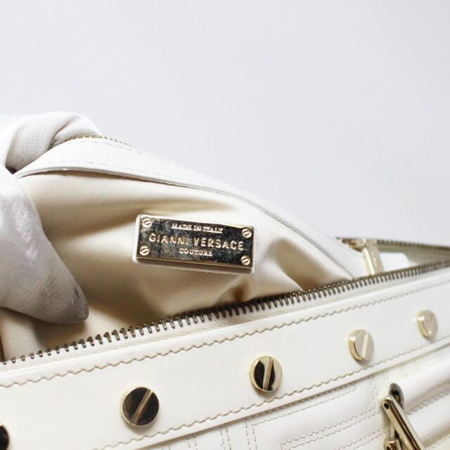 GIANNI VERSACE 30949 White Patent Leather Snap Out of It Boston Bag 7
