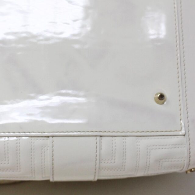 GIANNI VERSACE 30949 White Patent Leather Snap Out of It Boston Bag 9