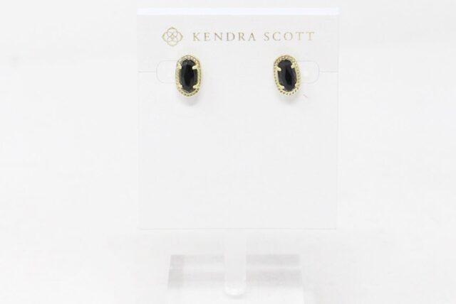 KENDRA SCOTT 30981 Ellie Black Opaque Glass Gold Stud Earrings 1