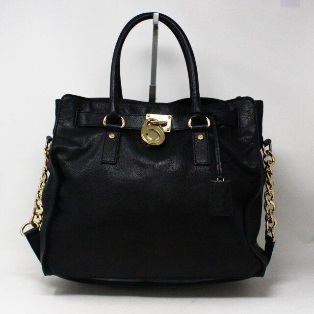 MICHAEL KORS 30935 Black Leather Lock Tote 1