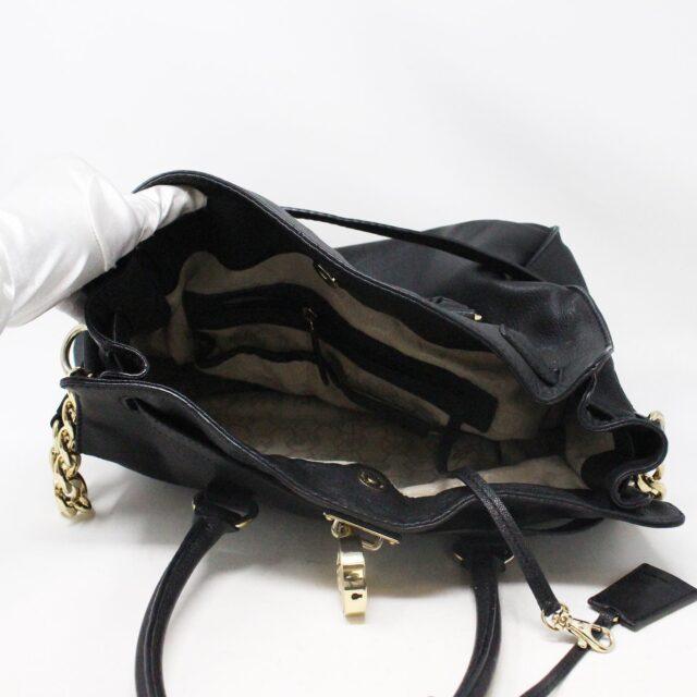 MICHAEL KORS 30935 Black Leather Lock Tote 5