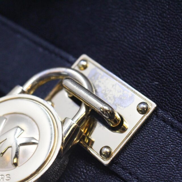 MICHAEL KORS 30935 Black Leather Lock Tote 9