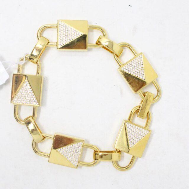 MICHAEL KORS 30962 Gold Tone Lock Stainless Steel Bracelet NWT 1