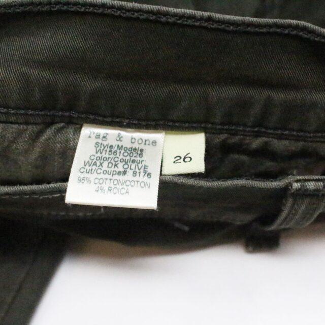 RAG BONE 31085 Olive Green Skinny Jeans Size 26 8