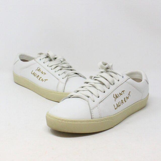 SAINT LAURENT 30950 Mens White Court Canvas Classic Sneakers 1