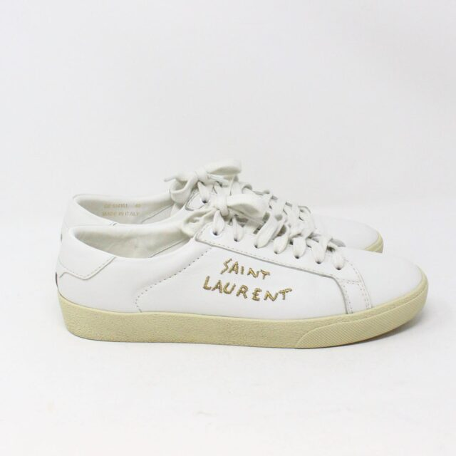 SAINT LAURENT 30950 Mens White Court Canvas Classic Sneakers 3