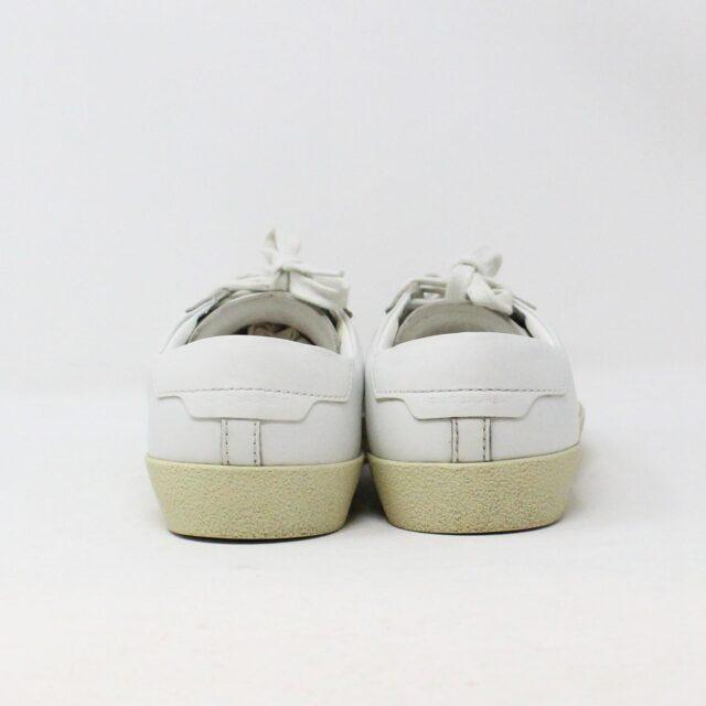 SAINT LAURENT 30950 Mens White Court Canvas Classic Sneakers 4