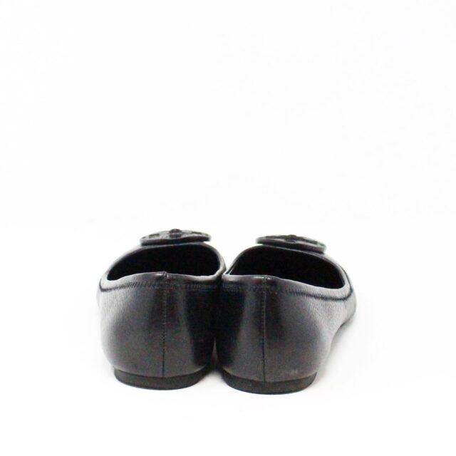 TORY BURCH 30931 Black Leather Logo Flats US 6 EU 36 3