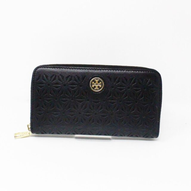 TORY BURCH AYB091 Black Perforated Robinson Leather Wallet 1