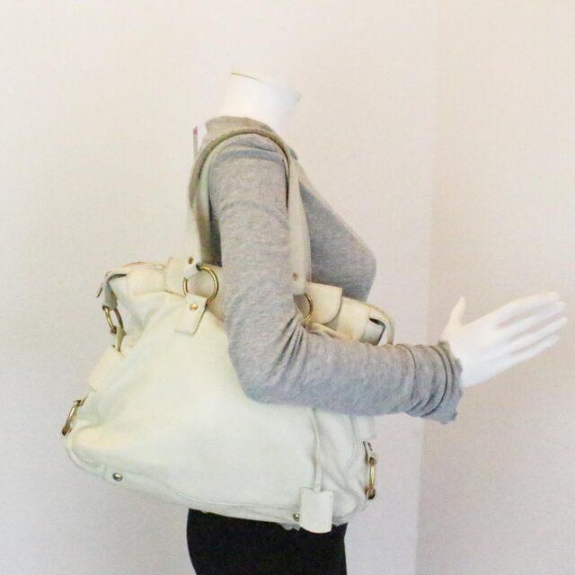 YVES SAINT LAURENT 31055 Beige Leather Muse Messenger Bag 10
