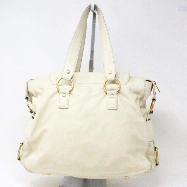 YVES SAINT LAURENT 31055 Beige Leather Muse Messenger Bag 2